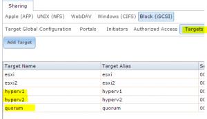 freenastarget01-300x173 Setup a Hyper-V Cluster Lab in VMware Workstation
