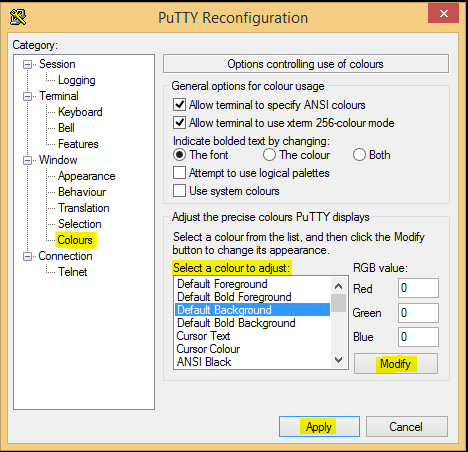 putty how to get php configuration