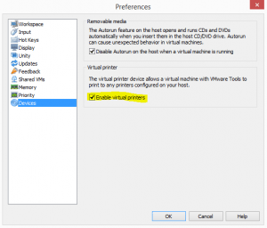 How to enable thinprint VMware Workstation 12 - Virtualization Howto
