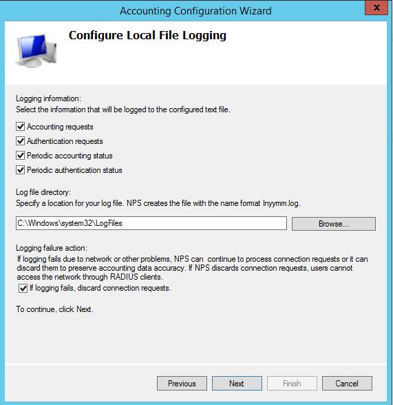 npslog07 Windows 2012 R2 NPS log files location configuration