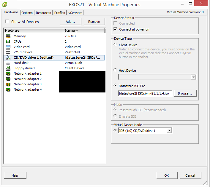 exosvirt14 Virtual Extreme EXOS install and configuration