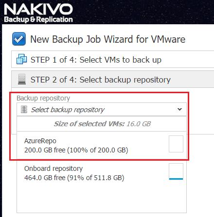 nakaz16 Nakivo Backup & Replication Backup to Azure