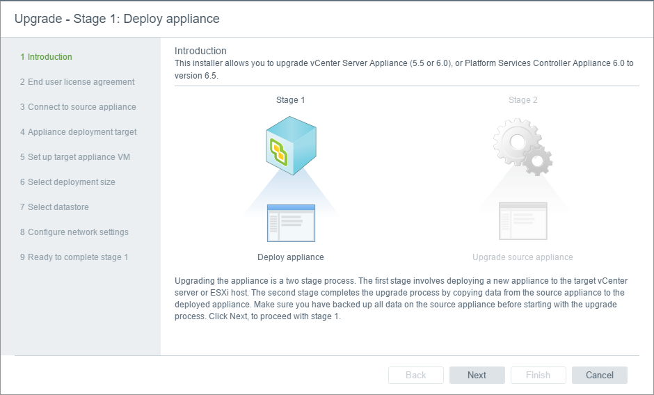 vc65up03 Upgrade VMware vCenter VCSA appliance 6.0 to 6.5
