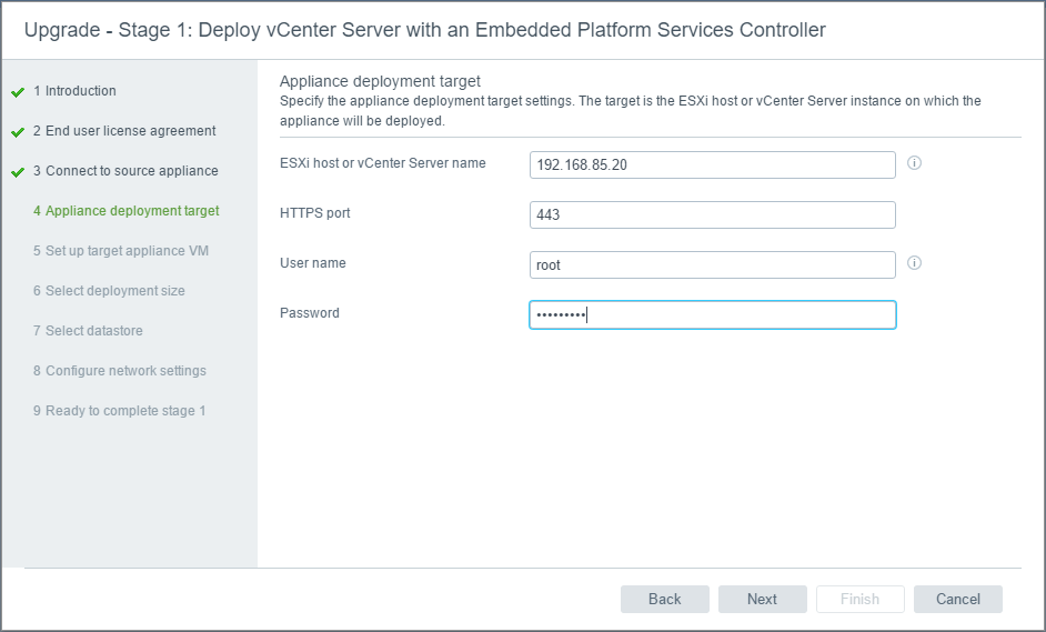 vc65up07 Upgrade VMware vCenter VCSA appliance 6.0 to 6.5