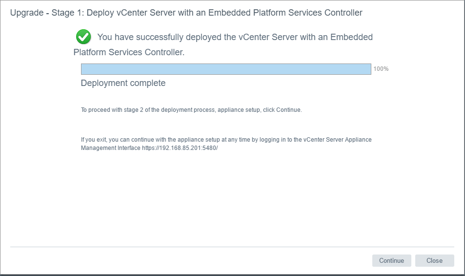 vc65up18 Upgrade VMware vCenter VCSA appliance 6.0 to 6.5