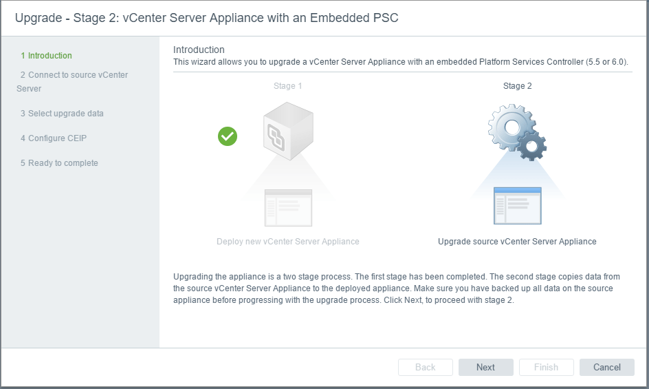 vc65up19 Upgrade VMware vCenter VCSA appliance 6.0 to 6.5