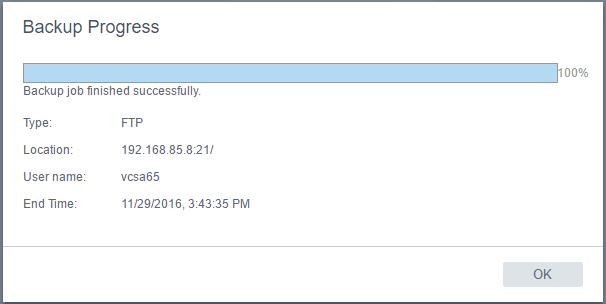 vcsa65bak07 New VMware VCSA 6.5 Appliance Backup