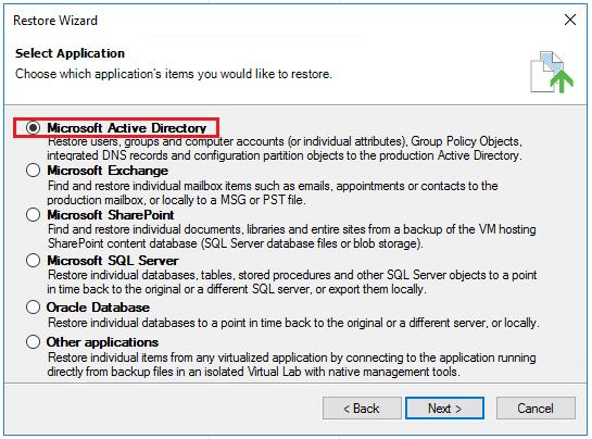 vbr_ad02 Veeam Restore Windows Server 2016 Active Directory Objects