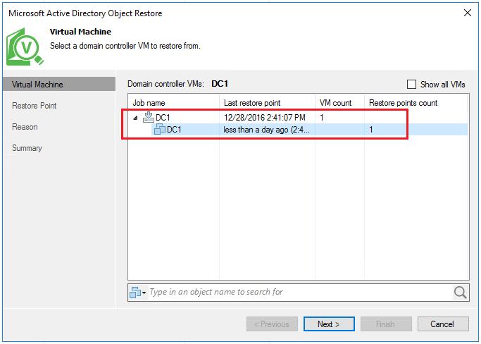 vbr_ad03 Veeam Restore Windows Server 2016 Active Directory Objects