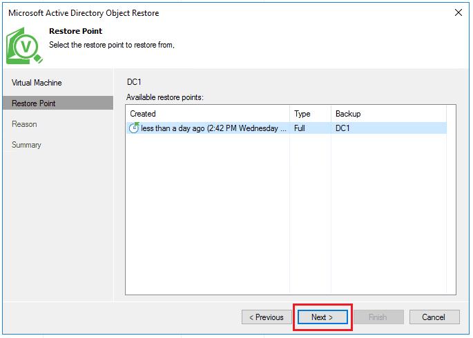 vbr_ad04 Veeam Restore Windows Server 2016 Active Directory Objects