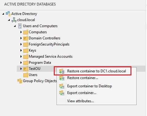 vbr_ad21 Veeam Restore Windows Server 2016 Active Directory Objects
