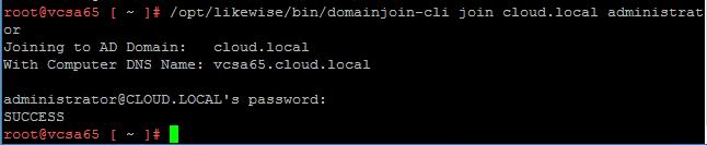 vcdomain04b VMware VCSA 6.5 error code 42500 joining Active Directory domain
