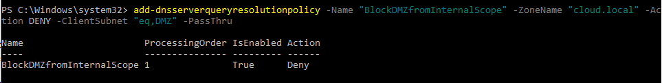 win16dnspol02 Windows Server 2016 DNS Policy Deny Subnet Access to Zone