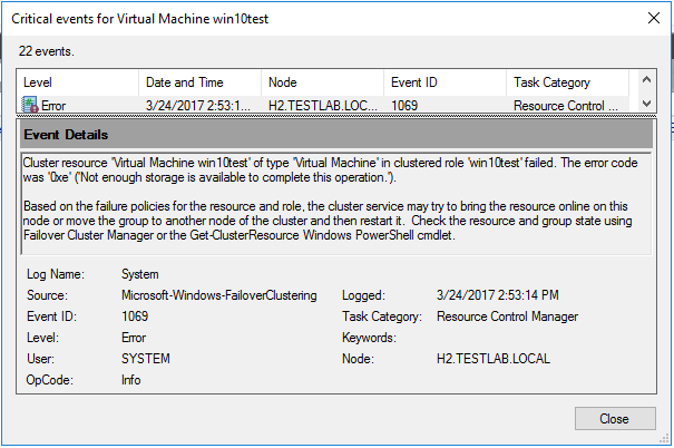 hvstorerr02 Windows Server 2016 Hyper-V Cluster Not Enough Storage Space Available