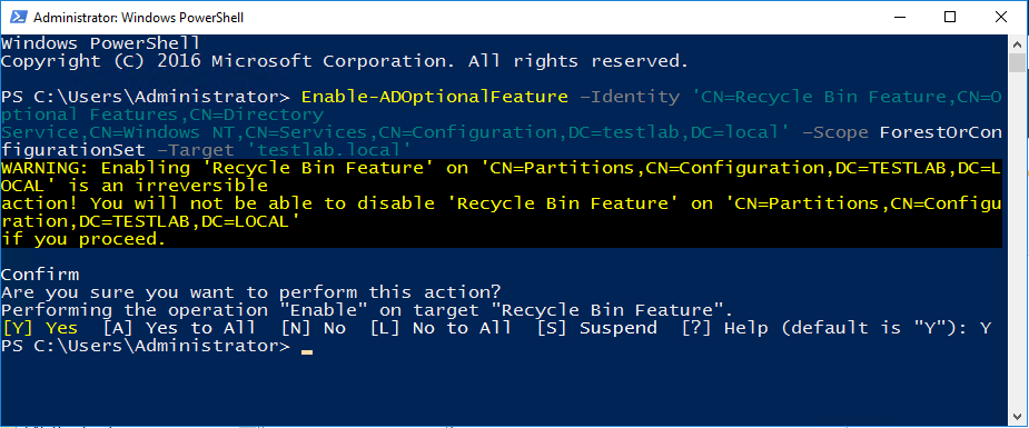 recycle16_03 Enable Windows Server 2016 Active Directory Recycle Bin