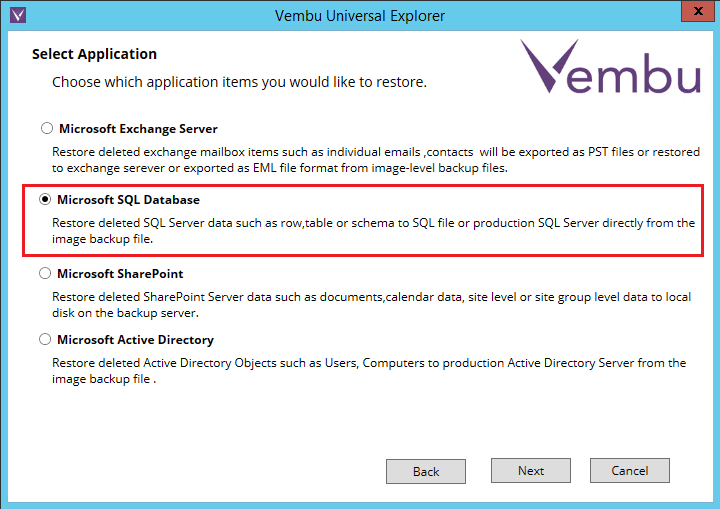 vembuapp02 Vembu BDR Suite Consistent Application Aware Backup and Restore