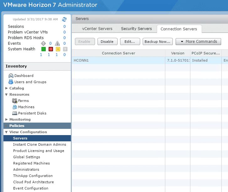 viewcon15 Installing VMware Horizon View 7.1 Connection Server