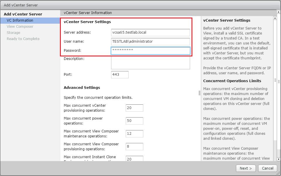 Setup Vmware Horizon View Connection Server Vcenter Connection