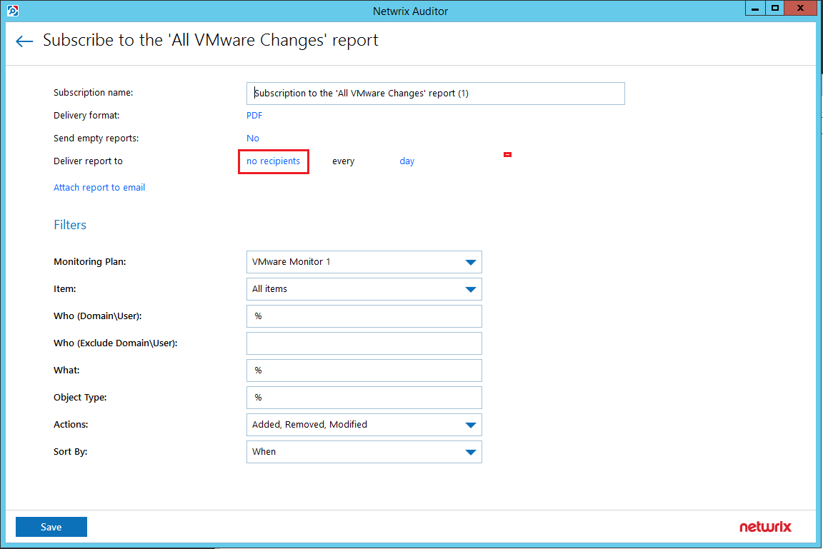 netwvm10 Audit VMware vSphere changes with Netwrix Auditor
