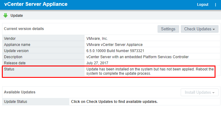 Checking-the-version-from-the-VCSA-VAMI-status-screen Upgrading VMware vSphere VCSA Appliance to 6.5 Update 1