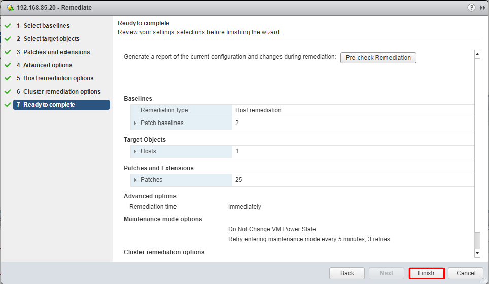 Finish-VUM-Remediation-Wizard Upgrade to VMware ESXi 6.5 Update 1 using VUM