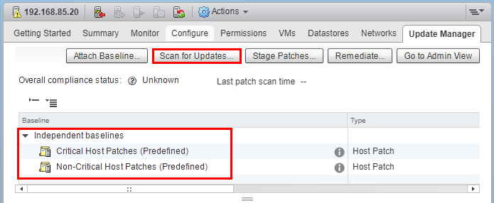 Scan-for-Updates-with-Baselines-applied-VUM Upgrade to VMware ESXi 6.5 Update 1 using VUM