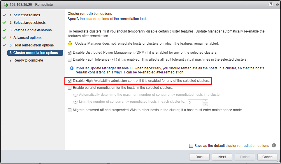 VUM-Remediation-Wizard-Cluster-Remediation-options Upgrade to VMware ESXi 6.5 Update 1 using VUM