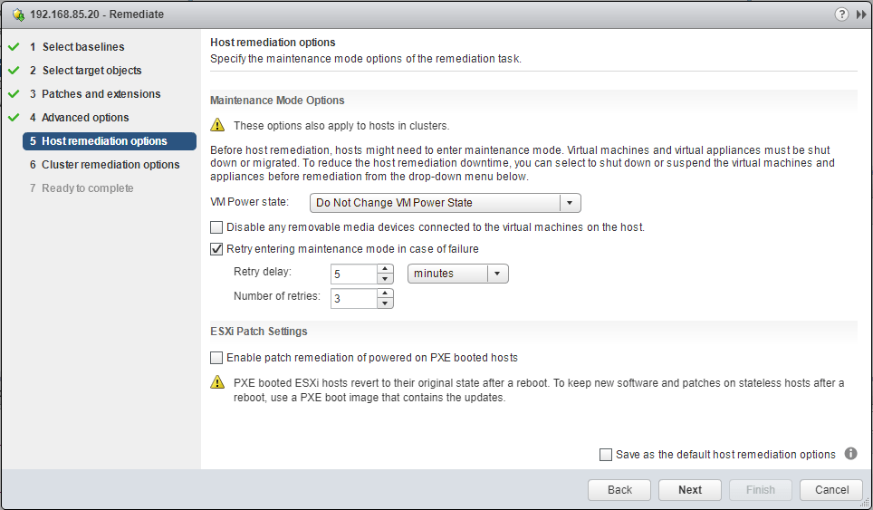 VUM-Remediation-Wizard-Maintenance-Mode-options Upgrade to VMware ESXi 6.5 Update 1 using VUM