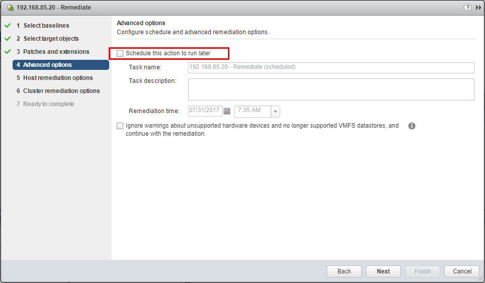 VUM-Remediation-Wizard-you-can-schedule-updates Upgrade to VMware ESXi 6.5 Update 1 using VUM