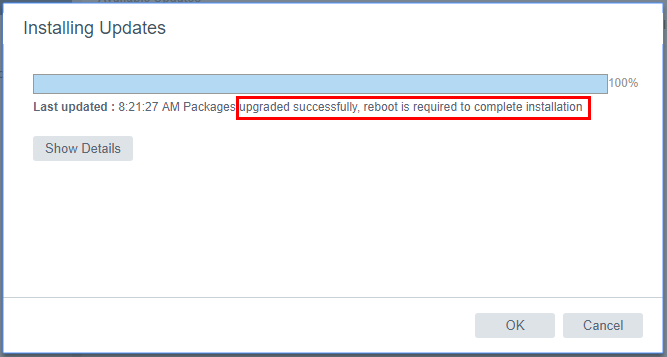 vSphere-VCSA-6.5-Update-1-update-successful-reboot-prompt Upgrading VMware vSphere VCSA Appliance to 6.5 Update 1