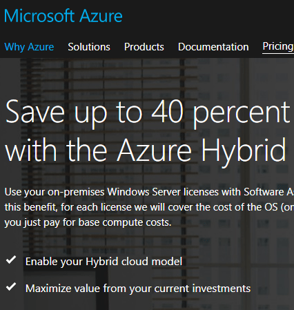 Azure-Hybrid-Use-Benefit Windows Server 2016 Hyper-V Versions