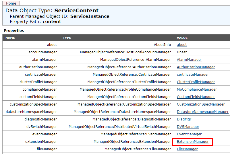 Choose-vCenter-MOB-Extension-Manager Managing Disabling Deleting VMware vCenter Server Plugins