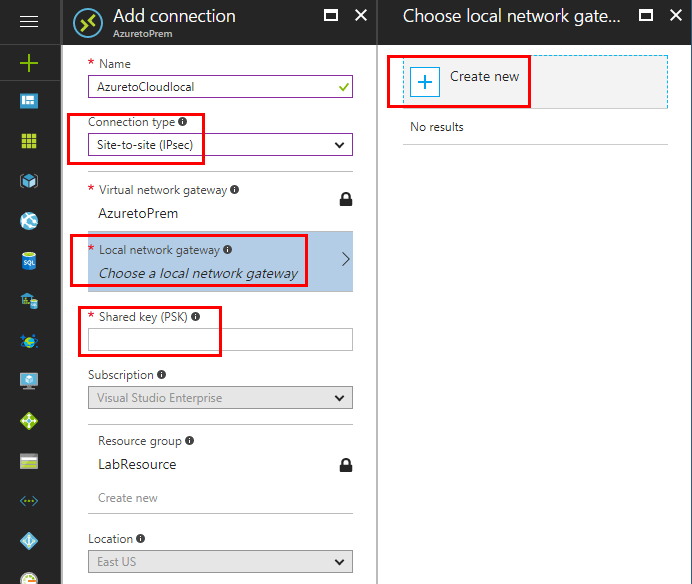 Configuring-new-Azure-virtual-network-gateway-connection Configure Meraki to Azure Site to Site VPN