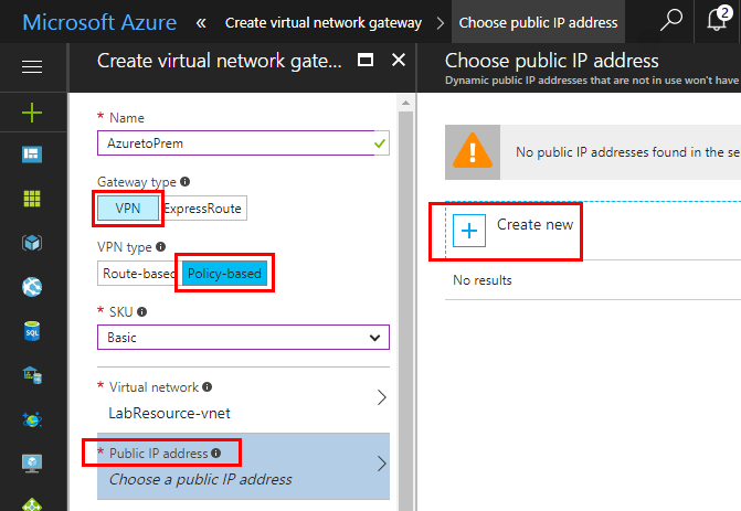 Create-the-Azure-Virtual-Network-Gateway Configure Meraki to Azure Site to Site VPN