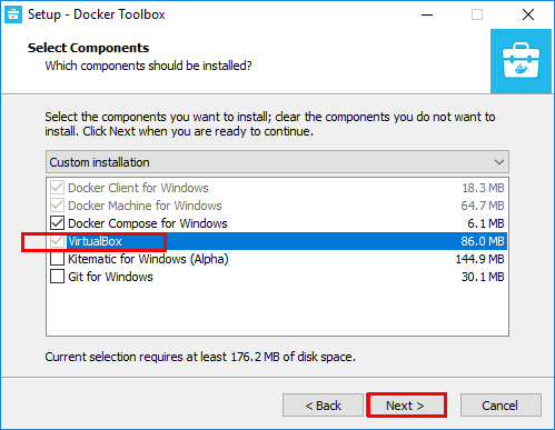 Docker-Toolbox-for-Windows-VirtualBox-selected Installing VMware vSphere Integrated Containers Part 1
