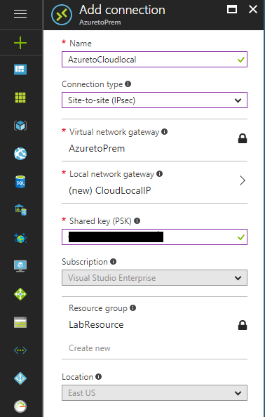 Enter-Shared-Key-and-create-the-Azure-virtual-network-gateway-connection Configure Meraki to Azure Site to Site VPN