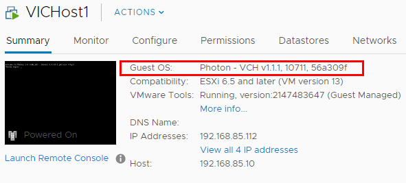 Note-the-vSphere-Integrated-Containers-VCH-host-is-running-PhotonOS Configuring VMware vSphere Integrated Containers