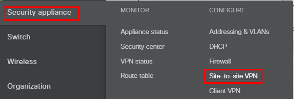 On-the-Meraki-click-Security-Appliance-and-Site-to-site-VPN Configure Meraki to Azure Site to Site VPN