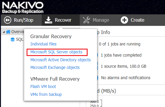 Restoring-Microsoft-SQL-Server-Objects Nakivo Backup and Replication 7.2 GA released