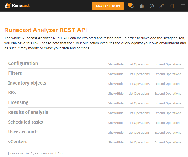 Runecast-Analyzer-REST-API-explorer