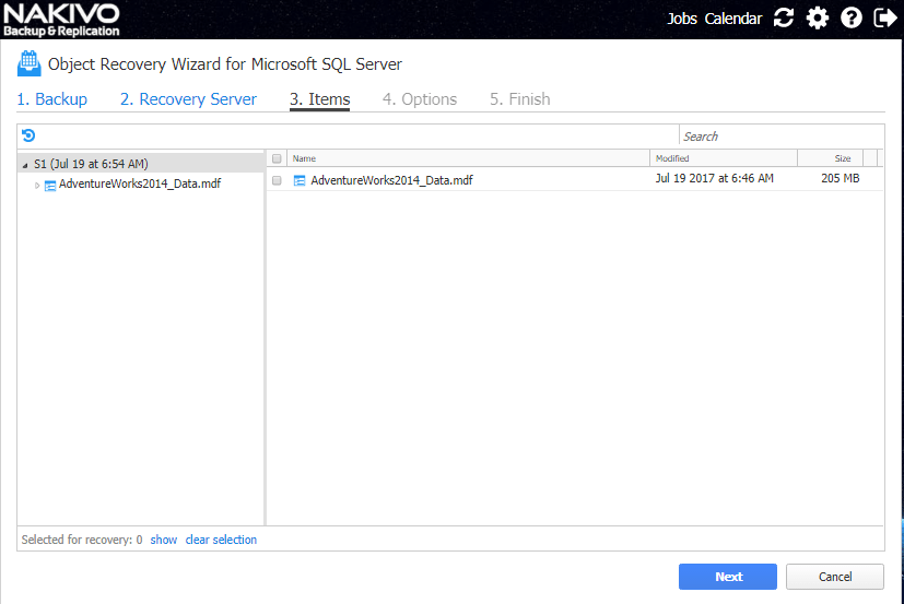 Select-Microsoft-SQL-Server-items-to-recover Nakivo Backup and Replication 7.2 GA released