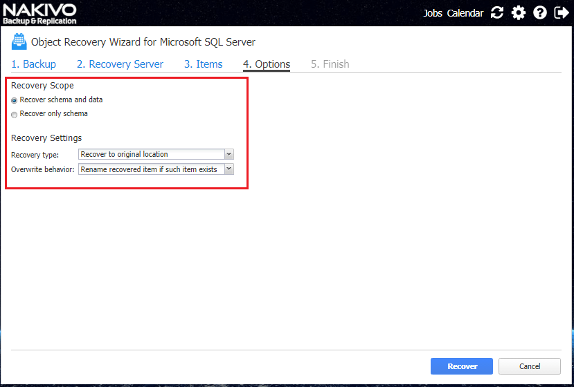 Select-Microsoft-SQL-Server-recovery-scope-options Nakivo Backup and Replication 7.2 GA released