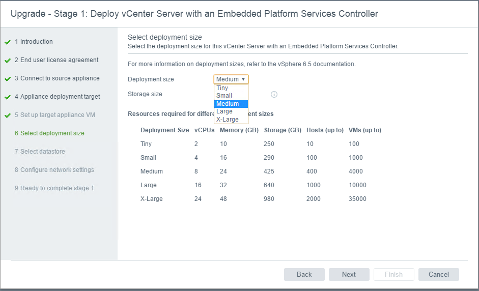 Sizing-options-with-VCSA-upgrade VMware VCSA 6.5 Upgrade no Tiny or Small Option