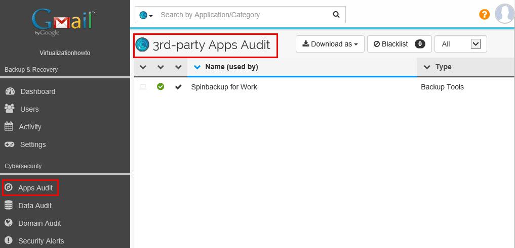 Spinbackup-apps-audit