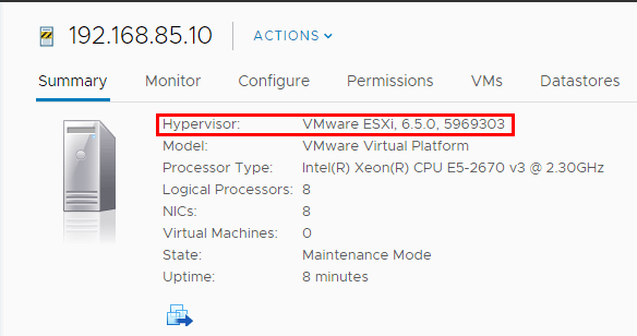 The-ESXi-6.5-update-1-host-version-is-correctly-showing-5969303 Upgrading VMware ESXi to 6.5 update 1 with commandline