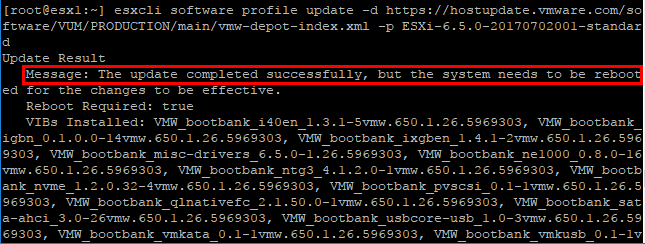 The-update-to-ESXi-6.5-update-1-on-the-host-is-successful Upgrading VMware ESXi to 6.5 update 1 with commandline