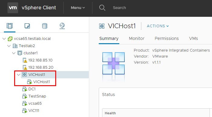 vSphere-Integrated-Containers-VIC-Host-is-provisioned-in-vCenter Configuring VMware vSphere Integrated Containers