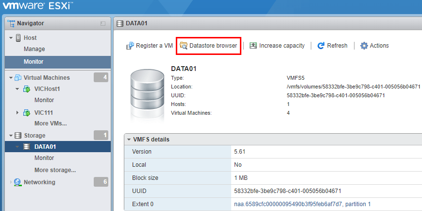Connect-directly-to-vSphere-ESXi-6.5-host Managing Datastore Files in VMware vSphere 6.5