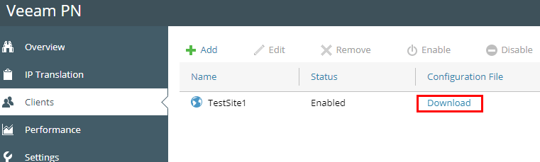 Download-the-configuration-file-for-the-remote-site-client Veeam Powered Network Overview and Installation