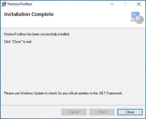 Horizon-Toolbox-Fling-installation-completes VMware Horizon Toolbox Fling Installation